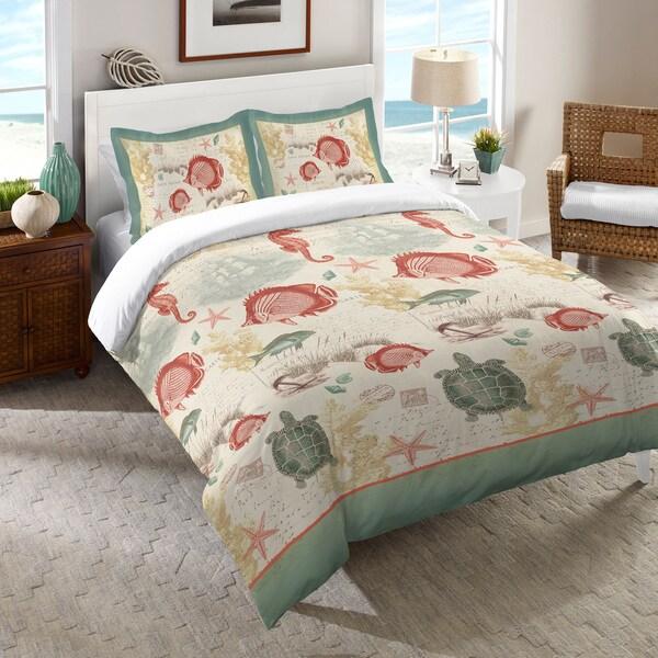 Laural Home Coral Seaside Maritime Comforter