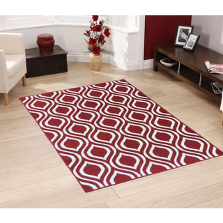 "Berrnour Home Rose Collection Moroccan Trellis Design Area Rug With Non-Skid (Non-Slip) Rubber Backing (5'X6'6"")"