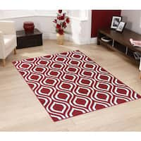 """Berrnour Home Rose Collection Moroccan Trellis Design Area Rug With Non-Skid Rubber Backing - 5' x 6'6"""""""