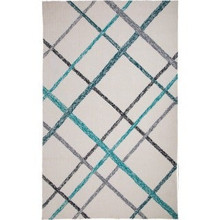 M.A.Trading Hand-Tufted Chinese Lienzo Ivory/ Turquoise Rug (5 x 8')