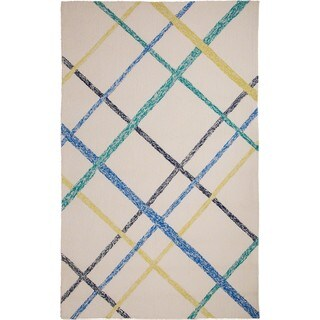 M.A.Trading Hand-Tufted Chinese Lienzo Ivory/ Blue Rug (5 x 8')