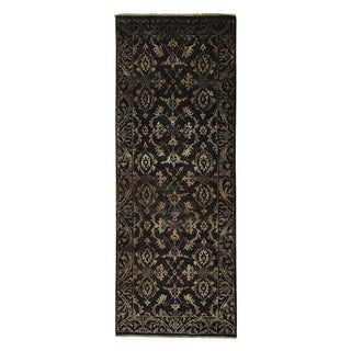 Wool and Silk Runner Damask Tone on Tone Handmade Rug (2'5 x 6'5)