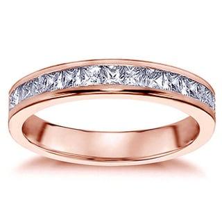 14k Rose Gold 3/4ct TDW Princess-cut Diamond Wedding Ring