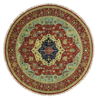Hand-knotted Antiqued Heriz Round Pure Wool Oriental Rug (7'9 x 7'9)