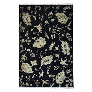 Modern Black Rajasthan Wool and Silk Handmade Oriental Rug (6' x 9')