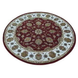Round Hand-knotted Rajasthan Wool and Silk Oriental Rug (4' x 4')