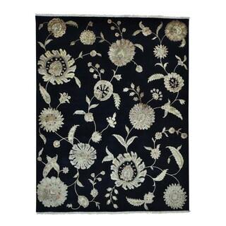 Black Modern Wool and Silk Rajasthan Handmade Oriental Rug (8' x 10')
