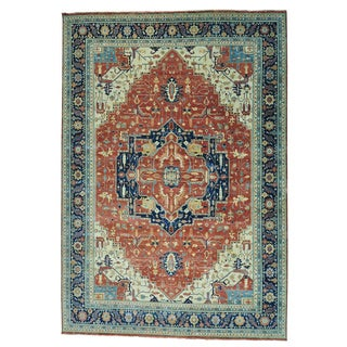 Antiqued Heriz Recreation Oversize Pure Wool Hand-knotted Rug (12'3 x 17'9)