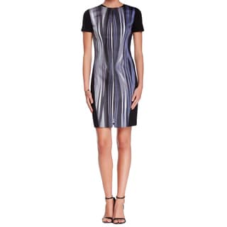 T Tahari Kaylee Black Dress with Blue and Silver Abstract Lined Design