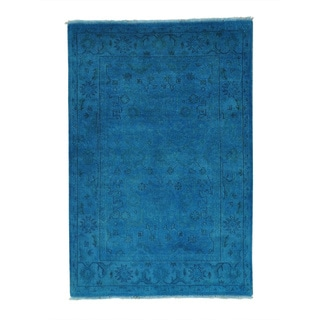 Overdyed Pure Wool Oushak Hand-knotted Oriental Rug (4' x 6')