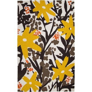 Hand-Tufted Chinese Bloom Brown/ Gold Rug (5 x 8')