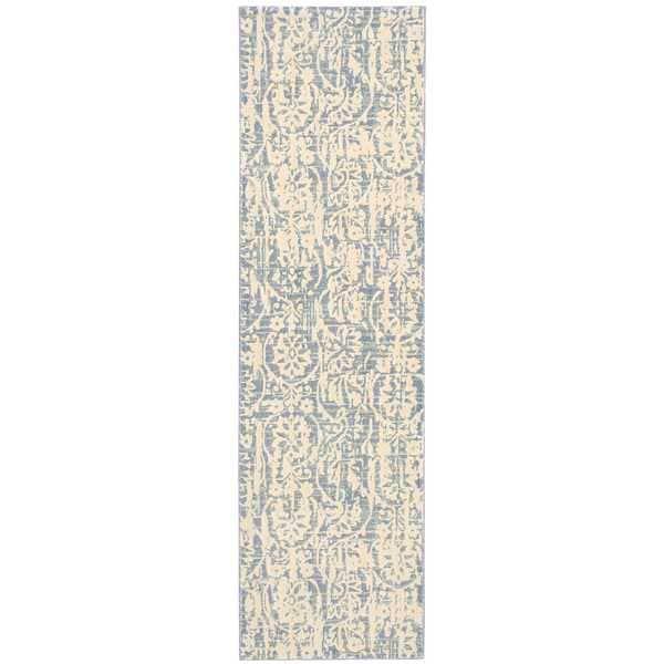 Nourison Nepal Ivory Blue Area Rug (2'3 x 8') - 2'3 x 8'