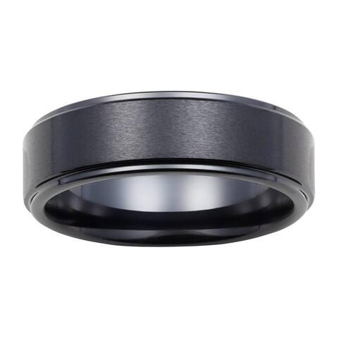 Boston Bay Diamonds Men's 7MM Comfort Fit Black Ceramic Wedding Band Ring w/ Raised Center