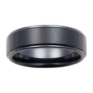 Boston Bay Diamonds Men's 7MM Comfort Fit Black Ceramic Wedding Band Ring w/ Raised Center|https://ak1.ostkcdn.com/images/products/11585166/P18525882.jpg?impolicy=medium