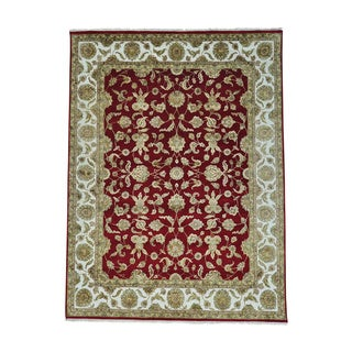 Rajasthan Wool and Silk Red Hand-knotted Oriental Rug (8'10 x 11'10)