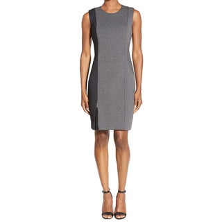 T Tahari Kinley Colorblock Black and Grey Scuba Dress