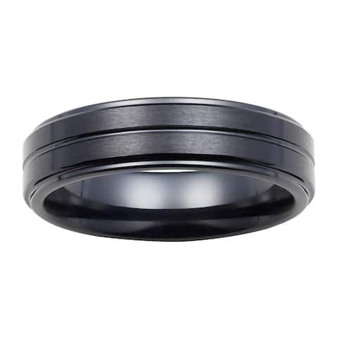 Boston Bay Diamonds Men's 7MM Comfort Fit Black Ceramic Wedding Band Ring