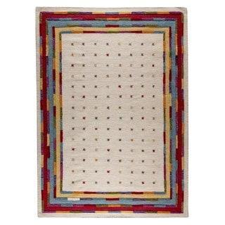 Hand-woven Indo Khema6 White/ Multi Rug (4'6 x 6'6)