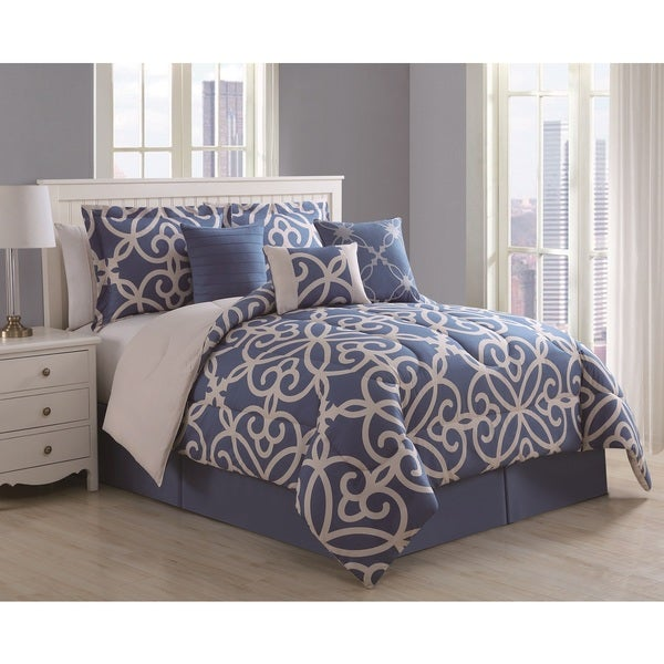 Eliza 7 Piece Scroll Denim Ivory Comforter Set Free