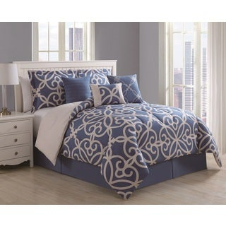 Eliza 7-piece Scroll Denim/ Ivory Comforter Set