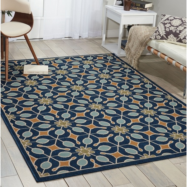 Nourison Caribbean Indoor Outdoor Navy Rug 2 6 X 4