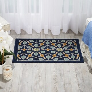 Nourison Caribbean Indoor/Outdoor Navy Rug (2'6 x 4') - 2'6 x 4'