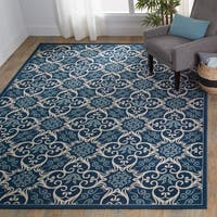 "Nourison Caribbean Indoor/Outdoor Navy Rug (2'6 x 4') - 2'6"" x 4'"