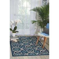 "Nourison Caribbean Indoor/Outdoor Navy Rug (1'9 x 2'9) - 1'9"" x 2'9"""