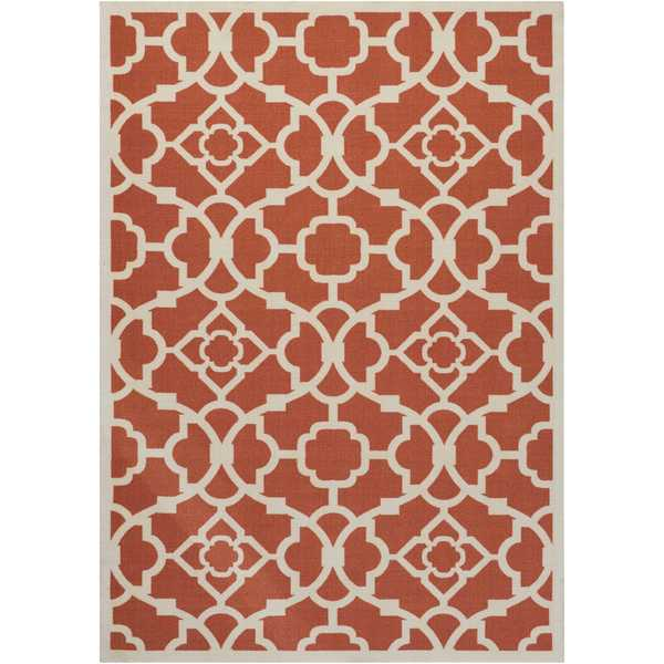 Waverly Sun N' Shade Lovely Lattice Sienna Indoor/ Outdoor Rug by Nourison - 10' x 13'