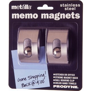Prodyne M-22 Stainless Steel Magnetic Memo Clips 2-count