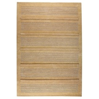 Hand-knotted Indo Boston Beige Rug (4'6 x 6'6)