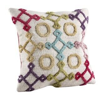 M.A.Trading Hand-woven Indo Nicia Bright/ Multi Pillow (24-inch x 24-inch)