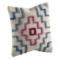 M.A.Trading Hand-woven Indo Tiberio Turquoise Pillow (24-inch x 24-inch)