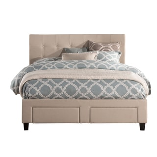 duggan beige upholstered tufted front storage queen king bed frame