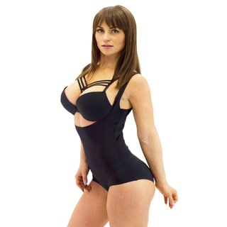 Women's Open Top Black Camisole Bodysuit