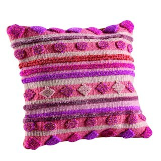 M.A.Trading Hand-woven Indo Elda Pink Pillow (16-inch x 16-inch)