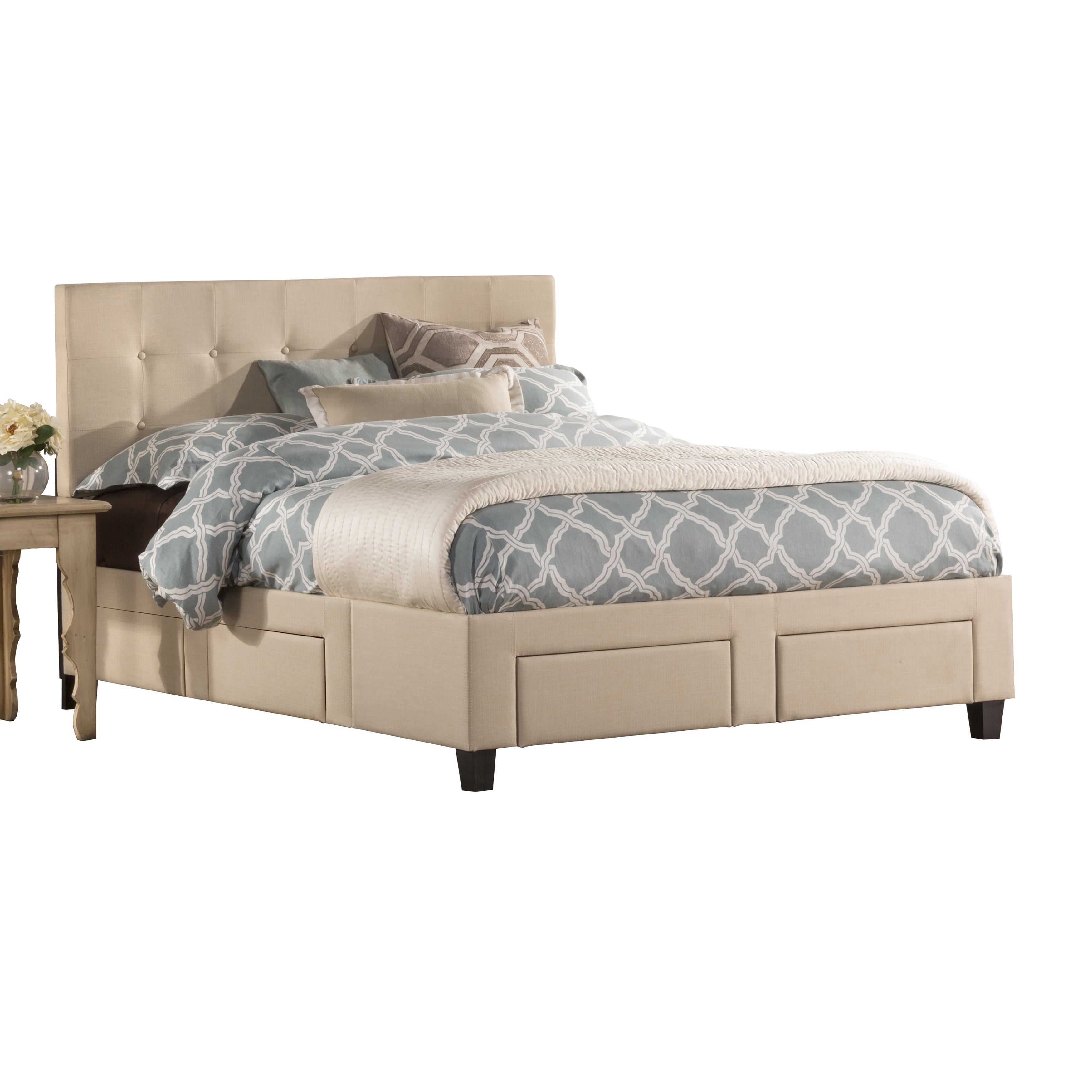 duggan upholstered tufted 6 drawer storage queen king bed frame ebay. Black Bedroom Furniture Sets. Home Design Ideas