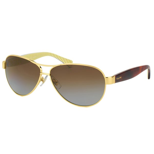 edb847d533 Ralph by Ralph Lauren RA 4096 106 T5 Gold Metal Aviator Sunglasses Brown  Gradient Polarized