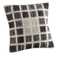 M.A.Trading Hand-woven Indo Dominico White/ Grey Pillow (16-inch x 16-inch)