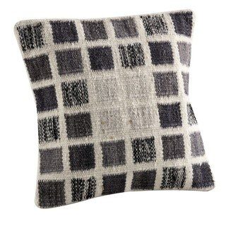 Hand-woven Indo Dominico White/ Grey Pillow (16-inch x 16-inch)