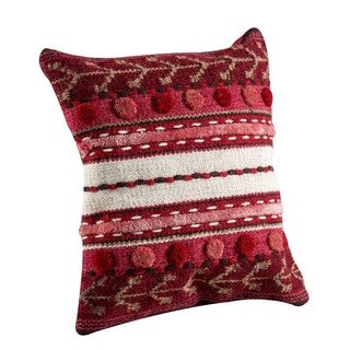 Hand-woven Indo Abramo Red Pillow (16-inch x 16-inch)