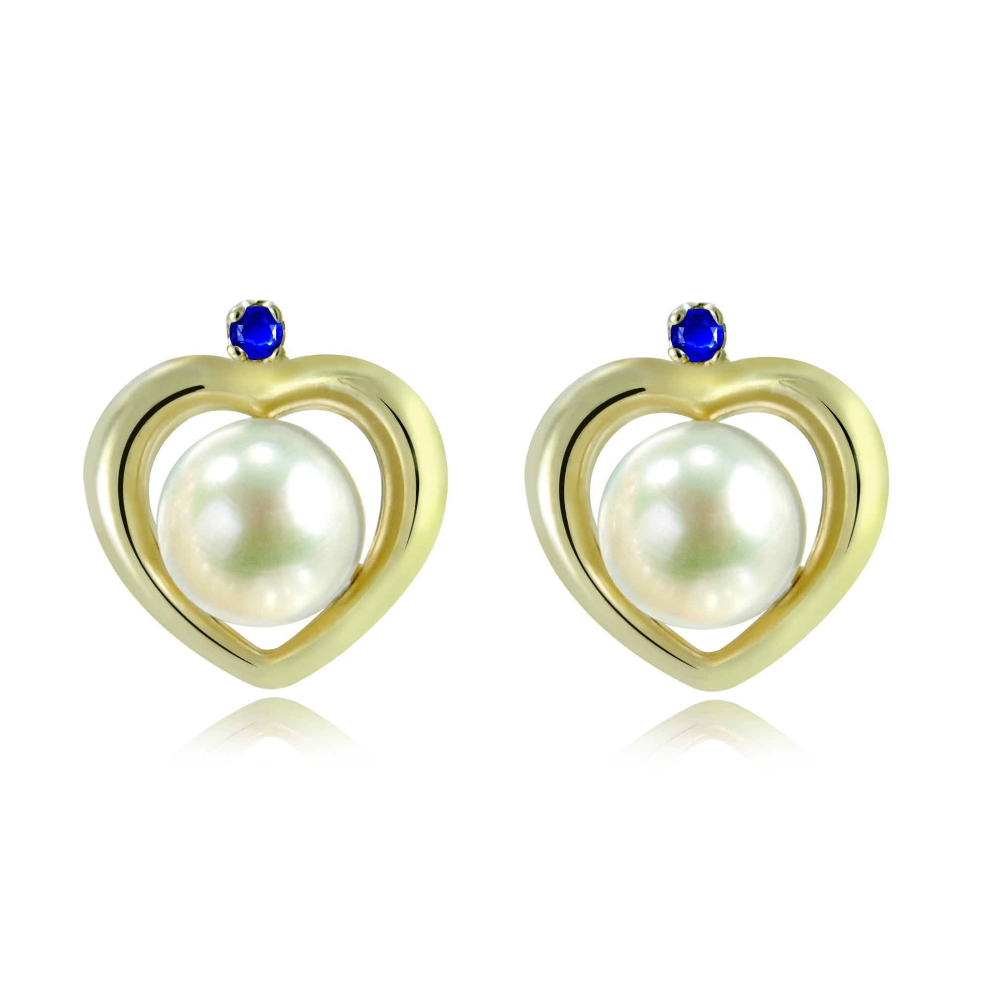 Round 9mm Genuine Blue Sapphire 10k Yellow Gold Stud Earrings
