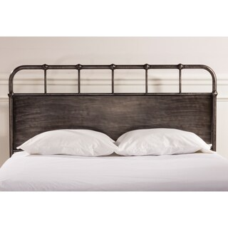 Grayson Industrial Rubbed Black Finish Metal Headboard with Rails