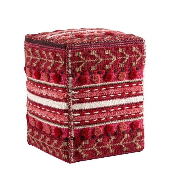 M.A.Trading Handmade Indo Abramo Red 20 x 16 x 16-inch Pouf