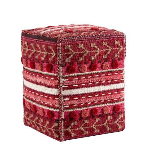 "Handmade Indo Abramo Red Ottoman - 20"" x 16"" x 16"" (India)"
