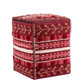 M.A.Trading Hand-woven Indo Abramo Red 20 x 16 x 16-inch Pouf