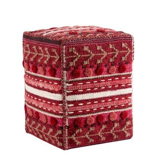 Hand-woven Indo Abramo Red Pillow (20-inch x 16-inch x 16-inch)