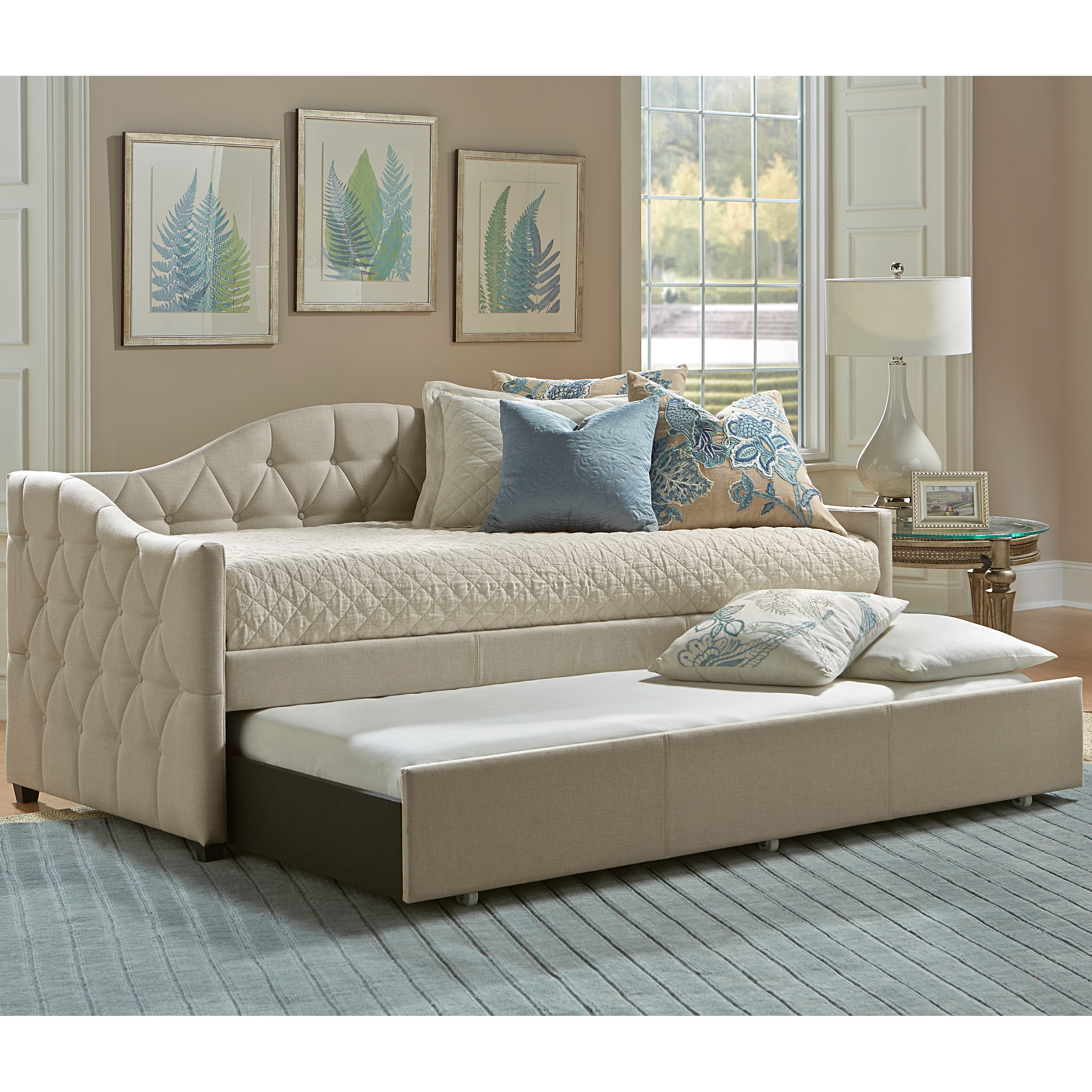 Shop Jamie Beige Tufted Daybed With Trundle Overstock 11585596