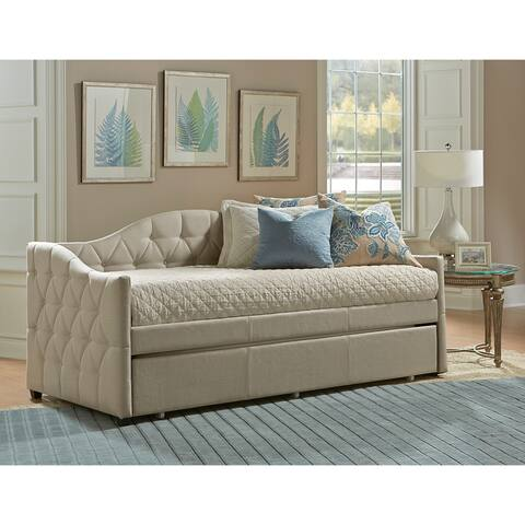 Jamie Beige Tufted Daybed with Trundle