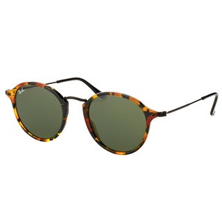 Ray-Ban RB 2447 1157 Spotted Black Havana Plastic Round Sunglasses Green Lens